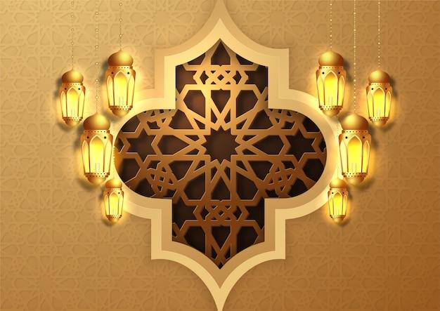 Рамадан карим дизайн поздравительной открытки. золотые подвесные фонари рамадан. исламский праздник. арабский фон