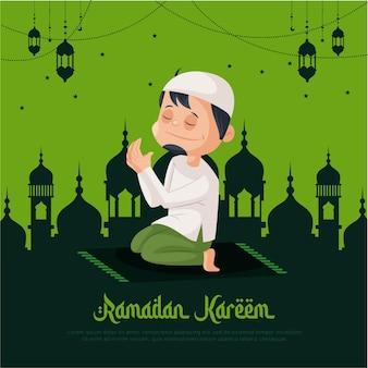Рамадан карим шаблон дизайна поздравительной открытки с мусульманином