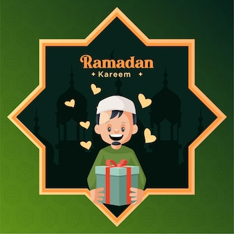 Ramadan kareem greeting card design with man holding gift box in hand