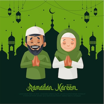 Ramadan kareem greeting card design with muslim couple