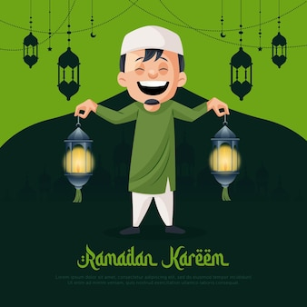 Ramadan kareem greeting card design with muslim man holding the lantern in hand