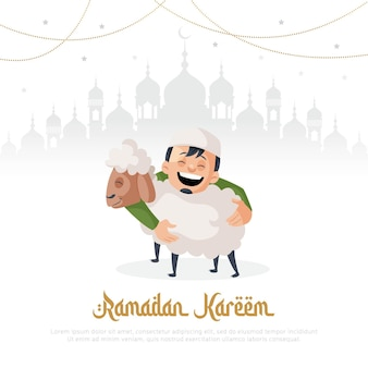 Ramadan kareem greeting card design with muslim man holding sheep in hand