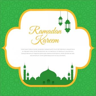 Ramadan kareem greeting card design with silhouette mosque and lantern