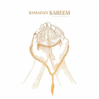 Рамадан карим поздравительная открытка рука рисовать эскиз фон