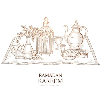 Ramadan kareem greeting card hand draw sketch