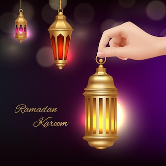 라마단 카림 인사말 카드. 손을 잡고 이슬람 램프. 현실적인 아랍어 등불