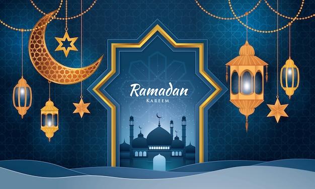 Ramadan kareem greeting card, islamic art style,paper art