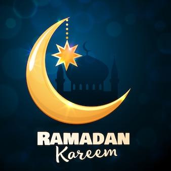 Рамадан карим поздравительных открыток. исламский золотой полумесяц и звезда. иллюстрация для мусульманского священного месяца рамадан. Premium векторы