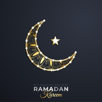 Ramadan kareem greeting card islamic with gold patterned on paper color background