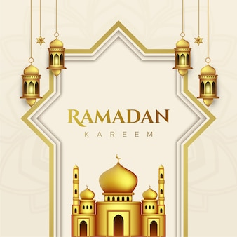 Ramadan kareem greeting card in paper style