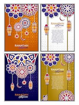 Ramadan kareem greeting card set