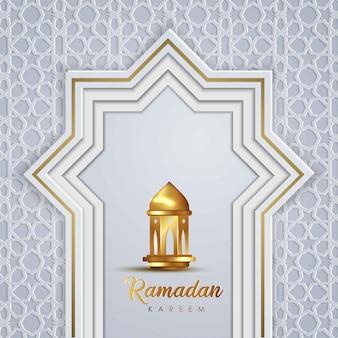Рамадан карим шаблон поздравительной открытки исламский дизайн с геометрическим узором исламской и традиционным фонарем
