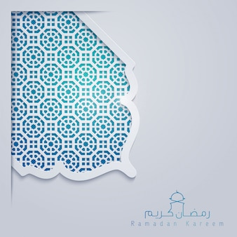 Ramadan kareem greeting card template with morocco pattern