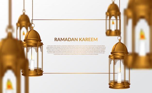 Ramadan kareem greeting card with 3d hanging arabian lamp illustration