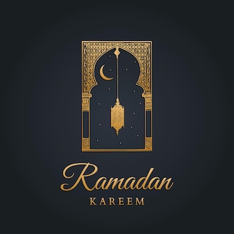 Ramadan kareem greeting card with calligraphy.  hand sketched oriental arch, lantern, new moon and stars.