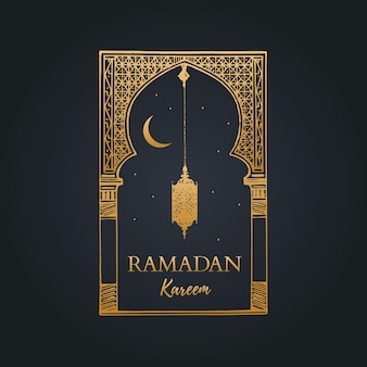 Ramadan kareem greeting card with calligraphy.