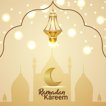 Рамадан карим открытка с творческим векторным фонарем