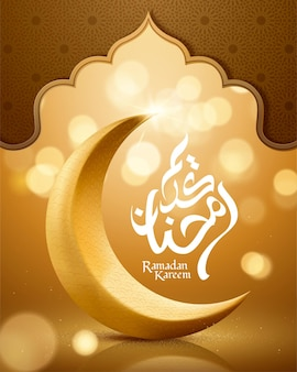 Ramadan kareem greeting card with crescent on shimmering golden background
