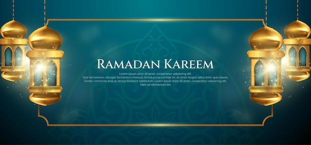 Открытка на рамадан карим с декоративными арабскими лампами и золотой рамкой