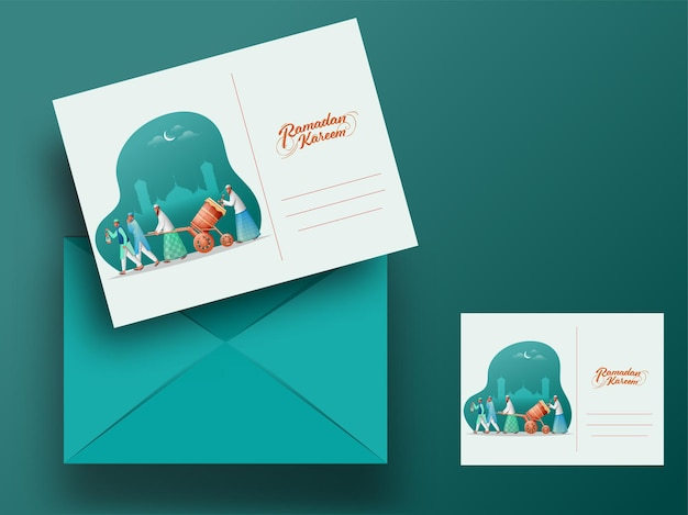 Ramadan kareem greeting card with editable envelope in front and back view
