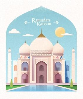 モスクと太陽とフラットスタイルのエレガントなモスクとラマダンカリームグリーティングカード