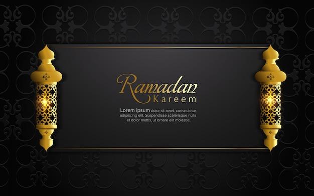Ramadan kareem greeting card with frame and arabic lamp