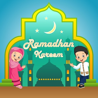 Ramadan kareem greeting card with funny cartoon muslim kids
