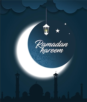 Ramadan kareem greeting card with glowing crescent moon, mosque, stars and ramadan lantern on night background.
