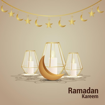 Рамадан карим открытка с золотой луной и творческим фонарем