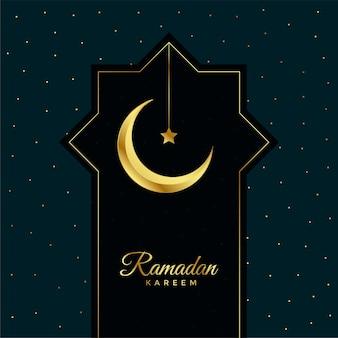 Ramadan kareem greeting card with golden moon and star
