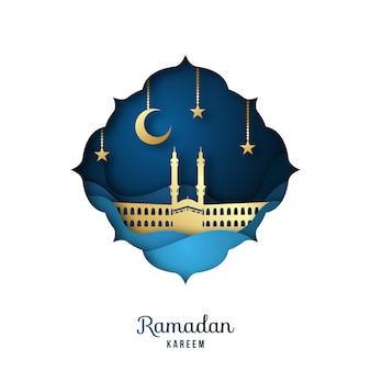 Ramadan kareem greeting card with golden mosque.