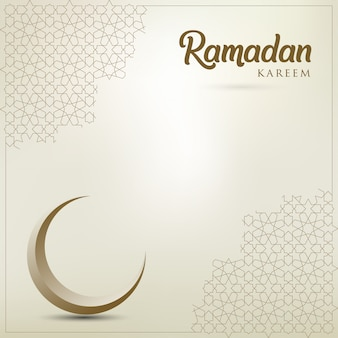 Ramadan kareem greeting card with golden ornate crescent