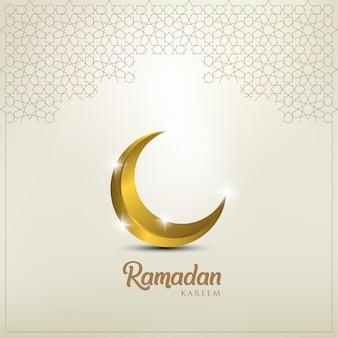 Ramadan kareem greeting card with golden ornate crescent