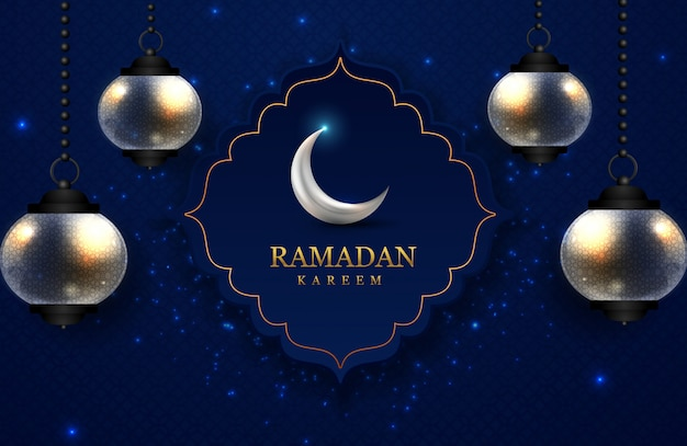 Ramadan kareem greeting card with lamp and moon, beautiful blue background pattern & sparkle lights.