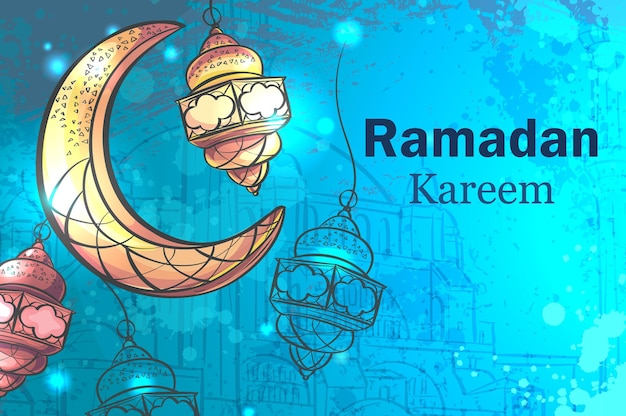 램프와 초승달 라마단 카림 인사말 카드