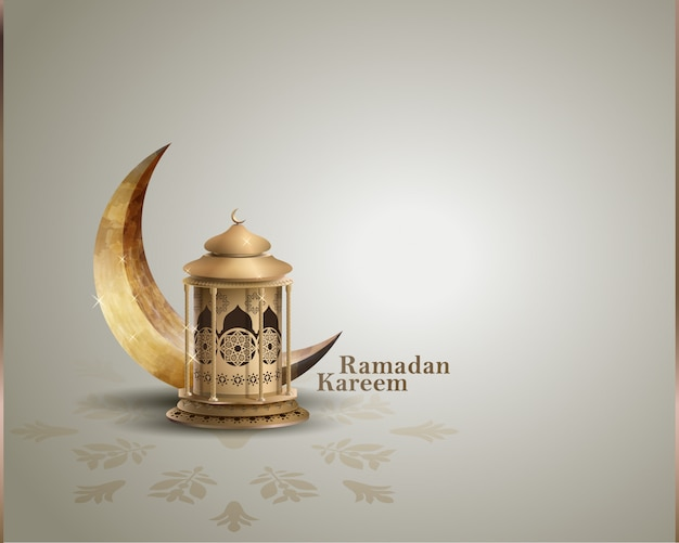 Ramadan kareem greeting card with lantern and crescent moon