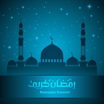 Ramadan kareem greeting card with mosque and night sky