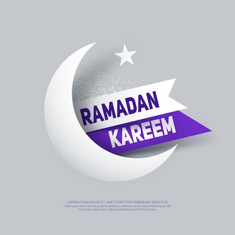 Ramadan kareem greeting card with paper crescent moon, star and ribbon.