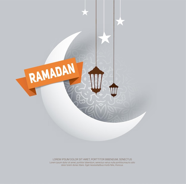 Ramadan kareem greeting card with paper crescent moon
