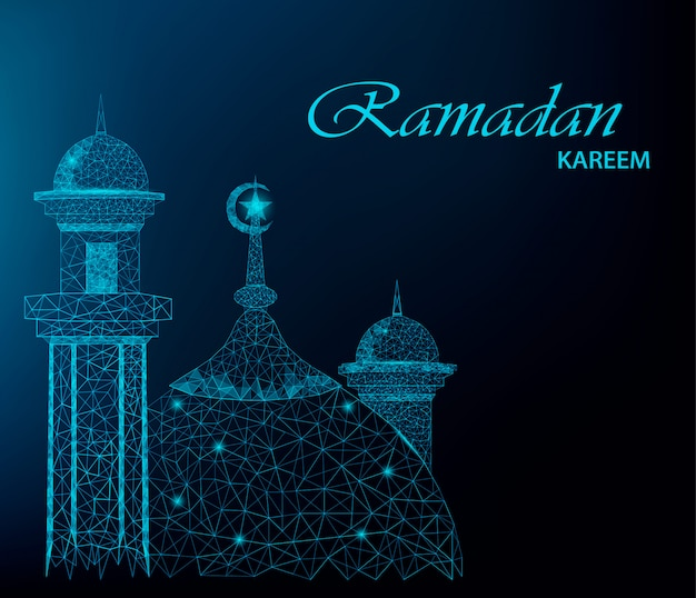 Ramadan kareem greeting card with polygonal mosque