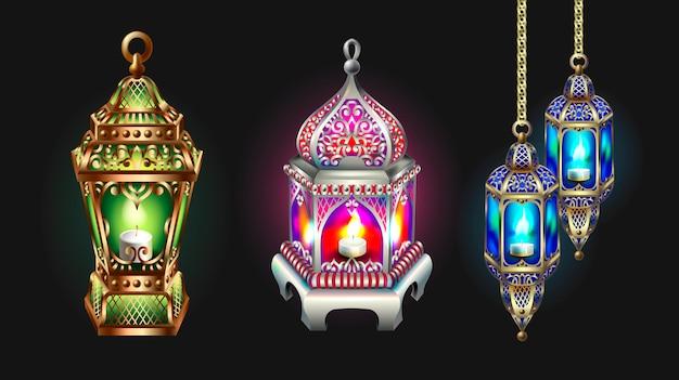 Ramadan kareem greeting card with silver lanterns Premium Vector