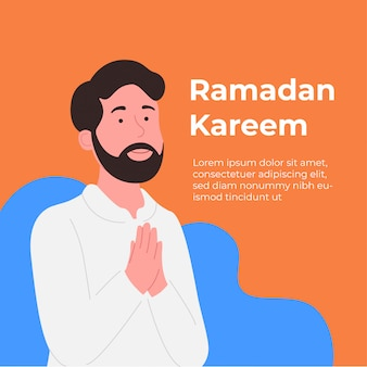 Ramadan kareem greeting card young man with praying hand