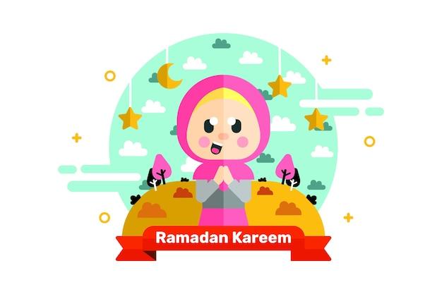 Ramadan kareem greeting character