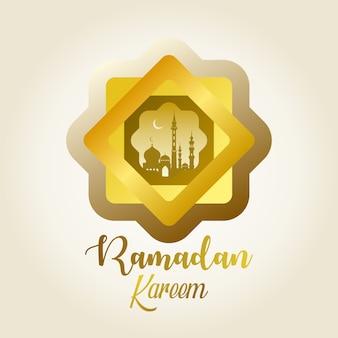Ramadan kareem greeting design with gold color.