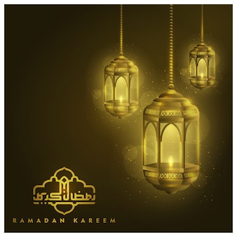 Ramadan kareem greeting lanterns background   with arabic calligraphy
