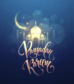 Ramadan kareem greeting lettering card with moon and stars.