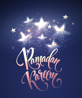 Ramadan kareem greeting lettering card with moon and stars