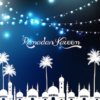 Ramadan kareem greeting poster with mosque and palm tree