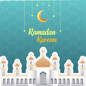 Ramadan kareem greeting vector card and wallpaper design template