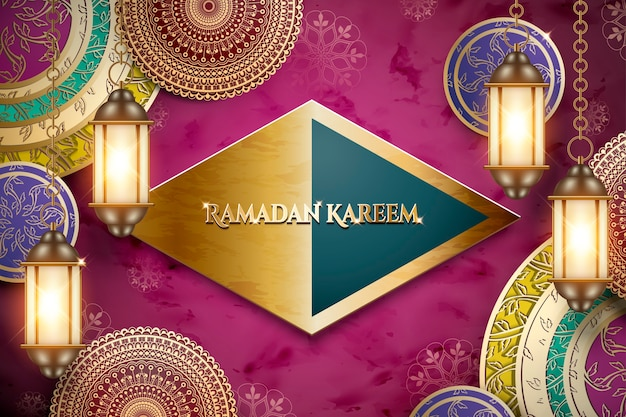 Ramadan kareem greeting words on glossy rhombus plate with hanging lanterns and exquisite floral elements, fuchsia background